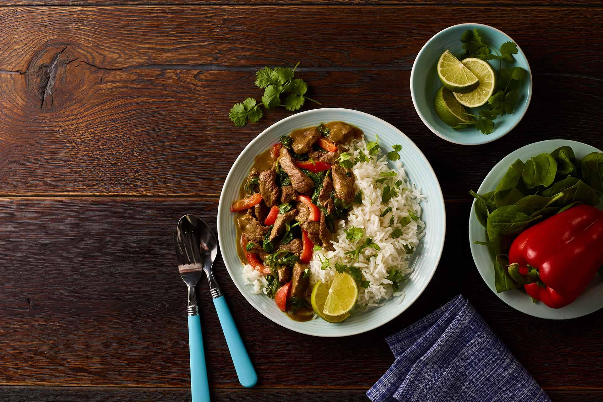 Malaysian Beef Stir Fry with Coconut Rice